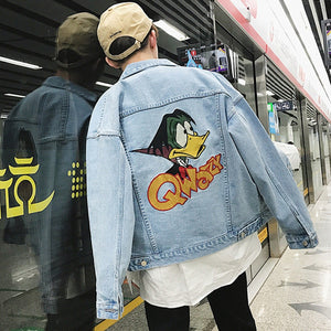 Anime Men's Embroidery Denim Jacket