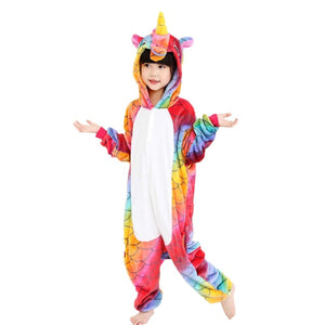 Childrens onesie pajamas for kids - animals hooded pajama set