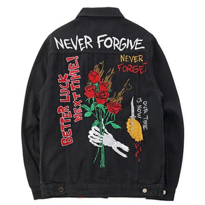 Denim Black Rose Embroidery Denim Jacket