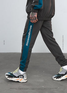 Side Stripe Letter Printing Contrast Color Men's track sweatpants