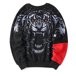 Tiger Printed Color Block Patchwork Batwing Sleeve Hoodie