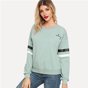 Blue Preppy Drop Shoulder Varsity Women Sweatshirts