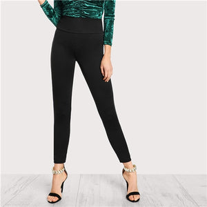Black Wide Waistband Stretchy Workwear Women Pants