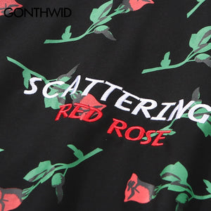 Red Rose Full Printed Embroidery Letters Hoodie