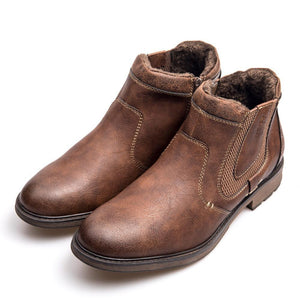 Leather Fur Zipper Ankle Men's Boot