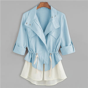 Blue Roll Sleeve Drawstring Autumn Coat