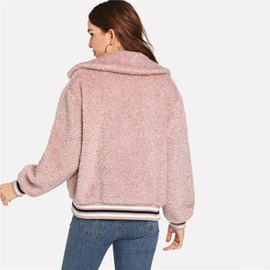 Pink Preppy Fuzzy Workwear Coat