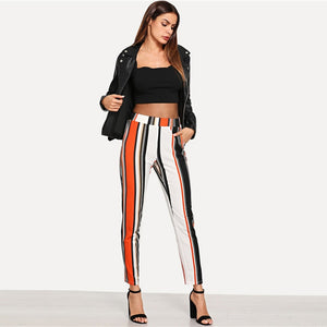 Multicolor Striped Mid Waist Workwear Pants