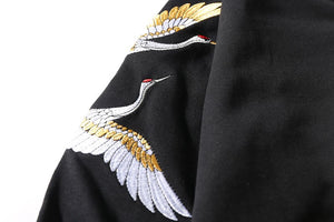 Fashion Casual Sleeve Embroidery Crane Hoodie