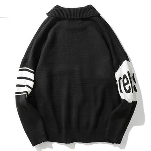 Fall Hipster Clothes Hip Hop Knitted Retro Vintage Cotton Loose Sweater