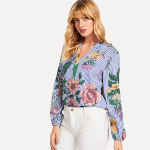 Floral Blue Striped V-Cut Bohemian Blouse