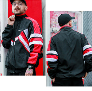 Autumn Vintage Hip Hop Color Block Windbreaker Jacket