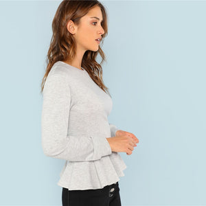 Grey Preppy Ruffle Hem Pullovers Women Sweatshirts
