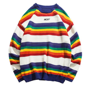 Rainbow Striped Knitted Men Hip Hop Patchwork Fashion O-Neck Sweater