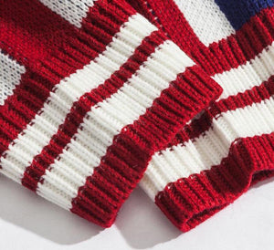 Hip Hop Round Neck Color Block Letter Knitted Striped Casual Men Sweater