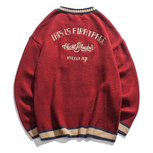 O-Neck Long Sleeve Embroidered Letter Color Block Pocket Men Sweater