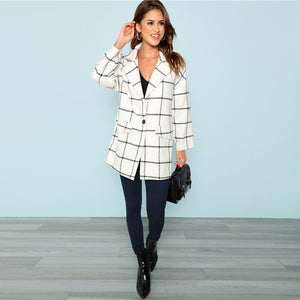White Single Button Grid Plaid Autumn Coat