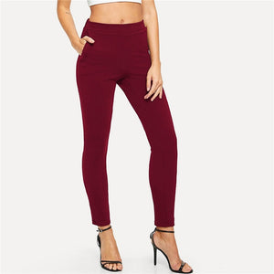 Burgundy Mid Waist Skinny Workwear Women Pants