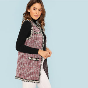 Plaid Print Tweet Vest Casual Women's Coat