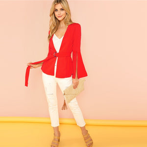 Red Split Sleeve Belted Office Women's Coat