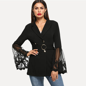 Black Embroidered Mesh Bell Sleeve Autumn Coat