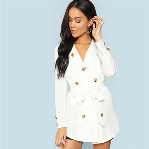 White Button Detail Notched Collar Autumn Coat