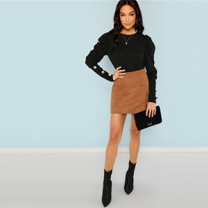 Black Elegant Puff Sleeve Workwear Women Top