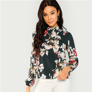 Green Floral Print Mock Stand Collar Long Sleeve Blouse