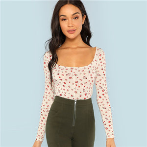 Apricot Floral Print Casual Women Top