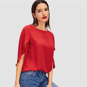 Red Lady Butterfly Sleeve Split Trim Blouse
