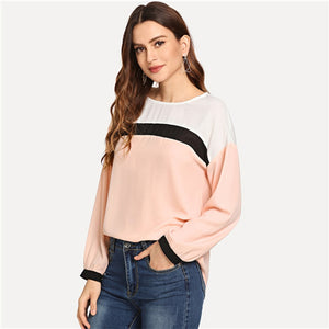 Pink Preppy Long Sleeve Pullover Blouse
