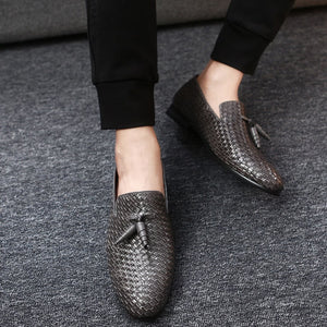 Casual Weave Pattern Leather Loafers Men's Shoe