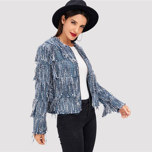 Blue Tassel Tiered Fringe Tweed Coat