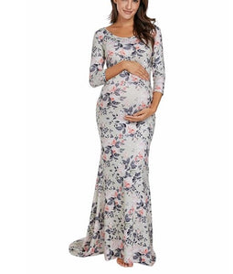 Long Round Sweep Maxi Maternity Dress