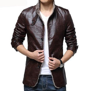 Anti-scratch Thick Outerwear Biker Motorcycle Men's Leather Jacket