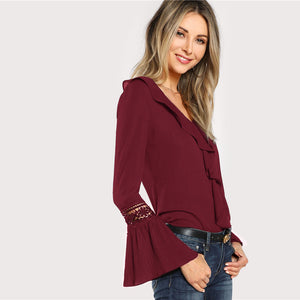 Elegant Burgundy Ruffle Neck Lace Pleated Cuff Office Blouse