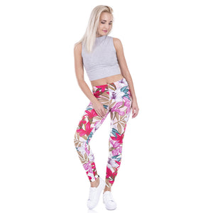 Pink Retro Flowers High Waist Slim Fit Leggings