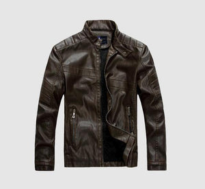 Velvet Thick Warm Wash Men's Leather Jacket