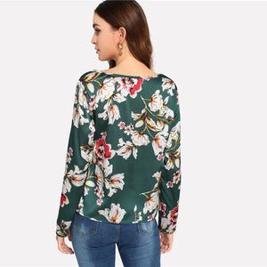 Green Floral Print Plaid Long Sleeve Blouse