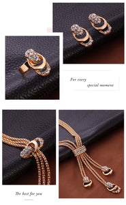 Rose Gold Crystal Necklace Earring Bracelet Ring Set