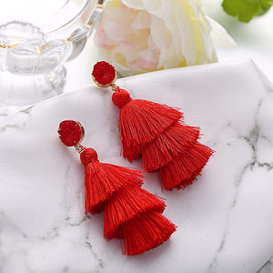 Boho Druzy Tassel Earrings For Women