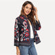 Multicolor Ornate Print Streetwear Women's Coat