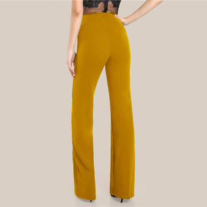 Ginger High Rise Piped Wide Leg Workwear Pants