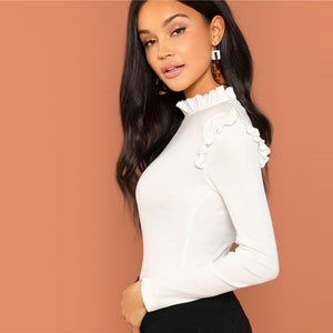 White Slim Fit Frill Trim Long Sleeve Women Top