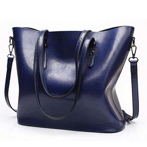 Casual Fashion Oil Wax Leather Large Capacity Shoulder Bag