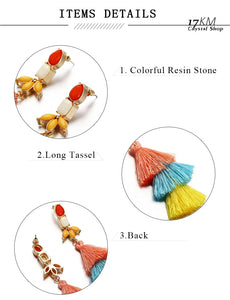 Fashion Color Long Tassel Earrings For Women