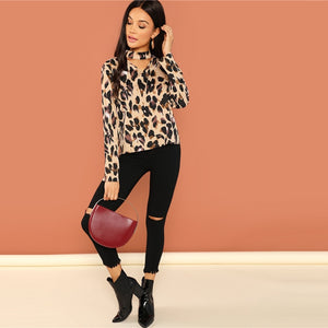 Leopard Print Choker Neck Long Sleeve Blouse