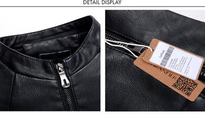 Velvet Thick Fashion Faux Men's Leather Jacket
