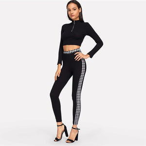 Black Gingham Waistband And Side Seam Women Pants