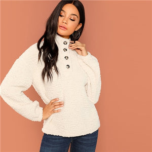 White Casual Button Front High Neck Women Sweatshirts
